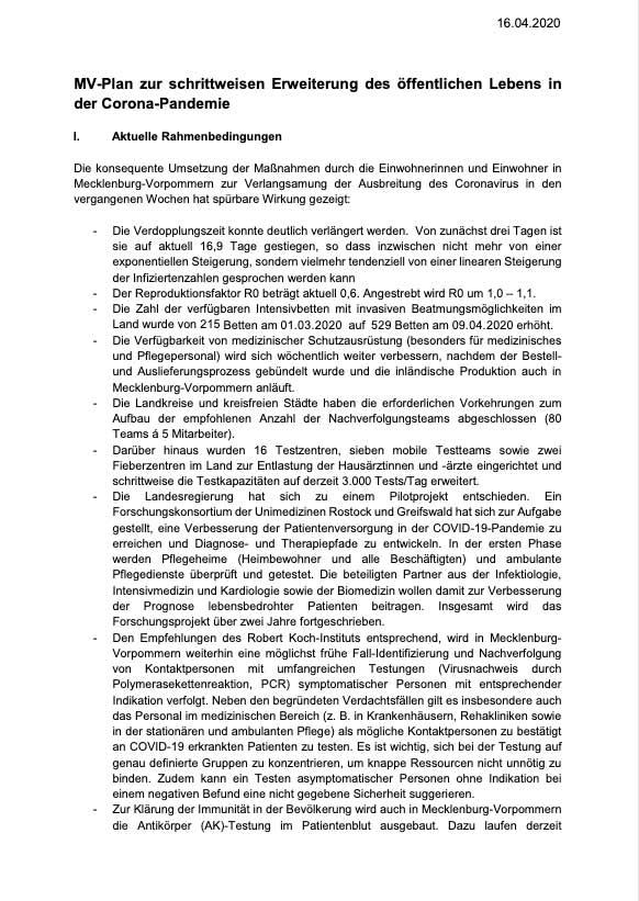 MV-Plan zur Corona-Pandemie 16.04.