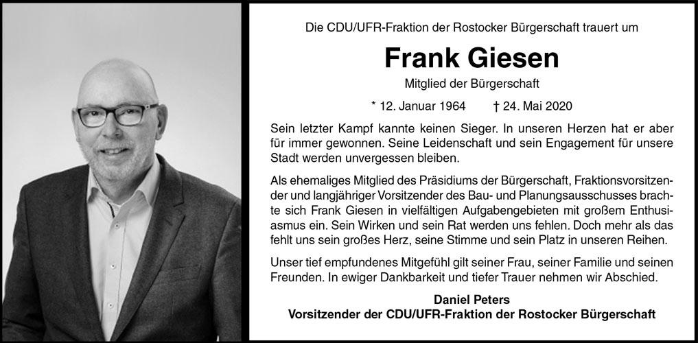 Traueranzeige Frank Giesen